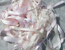 LACE AND RIBBON MIXED BUNDLE 12 METRES  Pink,  Cream & White ROLL ENDS & offcuts