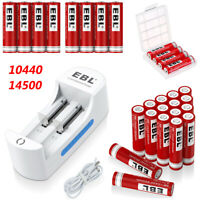 EBL 3.7V 14500 10440 Li-ion Rechargeable Battery For Flashlight + 2 Slot Charger