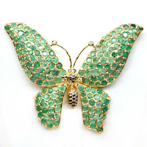 NATURAL 3 mm. GREEN EMERALD & SAPPHIRE 925 STERLING SILVER BUTTERFLY BROOCH