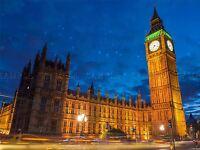 BIG BEN HOUSE PARLIAMENT WESTMINSTER LONDON NIGHT PHOTO PRINT POSTER BMP2150A