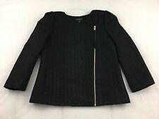 NWOT ANN TAYLOR Jacket Fitted Blazer Gold Metallic Speckled Black Wool Blend 6