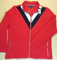 NWT Womens Large Tommy Hilfiger Zip Up Running Track Jacket Red White Blue Flag