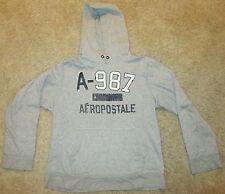 Aeropostale Gray Mens Sweat Jacket w Hood Size Large Long Sleeve A-987
