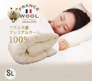 Japan Made French Premium Wool 100% Comforter Single Ivory Fast Ship japan EMS