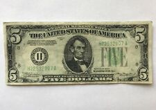 1934 $5 LIGHT GREEN SEAL VIVID COLOR FIVE DOLLAR $5 Federal Reserve Note 1934