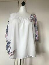 M&S Indigo Collection Women's White Pink Mix Loose Kimono Top Size 16 New Tags