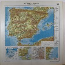 1929 Mapa Original ~ España físico lluvia Granada Valencia Lisboa
