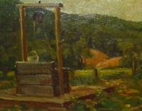 1929 Goldalie Frank Western Landscape Impressionist Oil Painting The Old Well OB