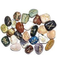 25 Pcs Seven Chakra Balancing Rune Stones Set Reiki Healing Engraved