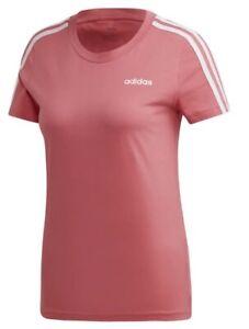 New Adidas Essentials 3-Stripe Top T-Shirt - Pink - Ladies Women's