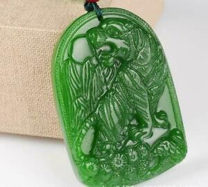 100% Natural Amulet  jade tiger jewelry Collection Green jade Necklace pendant