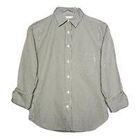 Ann Mashburn Size S Long Sleeve Button Down Striped Cotton Poplin Blouse Green