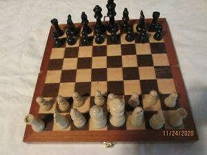 vintage Chess Set with folding wood board / storage container