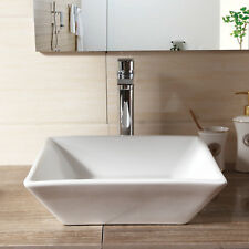 BN Square Stylish White Ceramic Wash Hand Basin Counter Top Bathroom Cloakroom