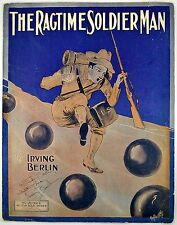 The Ragtime Soldier Man Signed By Irving Berlin EH Pheiffer Art 1912 Sheet Music