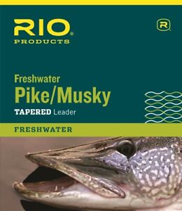 RIO FRESHWATER PIKE MUSKY 7.5 FT 30 LB NYLON LEADER WITH STEEL WIRE & SNAP LINK