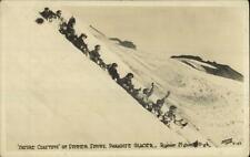 Rainier National Park Coasting Paradise Glacier c1920 Real Photo Postcard