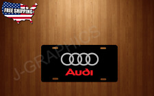 Audi Rings Vehicle BLACK License Plate Auto Tag S4 S5 TT RS A4 A6 A8 NEW