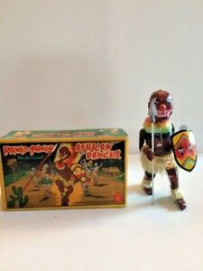 Pango Pango African Dancer tin wind-up toy  1950s