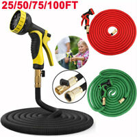 NON KINK FLEXIBLE GARDEN WATER HOSE 25 50 75 100 Feet Colorful +Spray Nozzle
