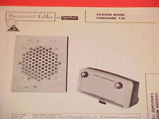 1962 VOXSON AM RADIO SERVICE MANUAL MODEL VANGARD 736 CHEVROLET FORD CHRYSLER