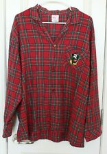 Disney Store Exclusive Christmas Pajama Flannel Plaid Shirt Mickey Mouse L Large