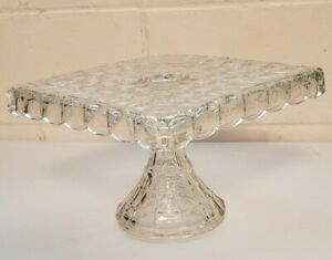 Vintage Cake Plate Stand Square Fostonia Rum Well