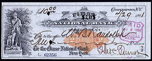 Bank Check, RN-X7, Chase National Cooperstown, NY Serial #62356, April 29, 1901