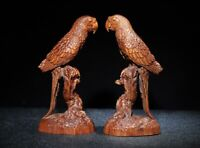 Collect Decor Exquisite Natural Boxwood hand carving pair of Parrot Statue birds