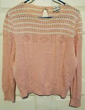 Wilroy Sports Pink White Sweater Vintage 80s 1980s Pastel Goth Kawaii Lolita.