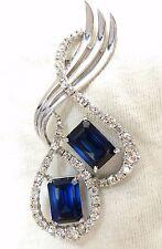 25ct Cobalt Blue Lab Sapphire Diamonds Brooch pin Platinum+
