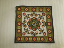 """Mod Geometric Floral Needlepoint Tapestry - 18 1/2"""" x 18 1/2"""" + Borders"""