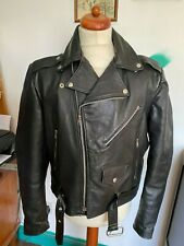 Mens Vintage Brooke Saddler Black Leather Motorcycle Biker Jacket Chest 44in