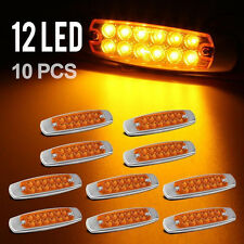 """10pcs 6.15""""LED Marker Clearance Light 12LED Pigtail Connector Amber Trailer New"""