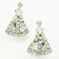 VINTAGE Clear Rhinestone Statement Clip On Dangle Earrings Silvertone Triangular