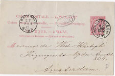 Belgium 1891 Postal Stationery Card Brussels to Amsterdam H&G 23