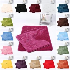 2PC Dolpin Bath and Pedestal Mat Set Soft Super Absorbent Non Slip Luxury