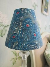 Handmade Coolie Lampshade  20cm Blue Peacock Feather Fabric
