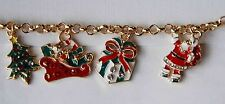 """Christmas Charm Bracelet / 5 Different Charms / Gold-tone Link Chain / 7-9"""""""