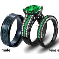 Couple Rings Titanium Steel Mens Ring Green Cz 2pc Women's Wedding Ring Sets