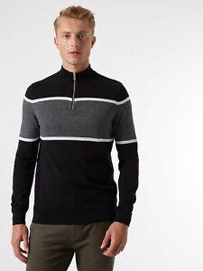 BURTON MENSWEAR LONDON Mens Black Half Zip Jumper Chest Stripe Sweater Pullover