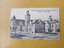 BLACK & WHITE 1908 POSTCARD PRESBYTERIAN CHURCH FIRE TOWN HALL MANITOBA CANADA
