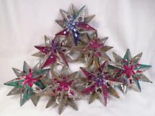7 Rare Tin Star Christmas Ornaments Multi Color Antique Large 5in.