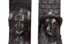 French Antique Hand Carved Oak Wood Bookends Folk Art Breton Couple
