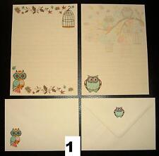 Decorative Autunno Gufi Design Lettera Set Cancelleria Carta da SCRIVERE