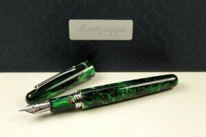 Montegrappa Elmo 01 Black Star Calla Lily Fountain Pen Fine Resin Green New