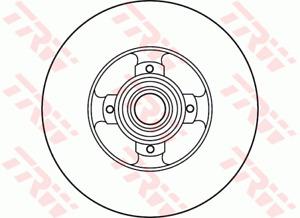 TRW Brake Rotor Rear DF6128BS fits Peugeot 308 SW 1.6 16V (110kw), 1.6 16V (1...