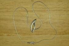 "16"" 925 STERLING SILVER DIAMOND MODERN OVAL PENDANT SNAKE CHAIN NECKLACE #A2089"