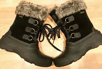 KHOMBU Womens Size 8 M Insulated Black Suede /Leather & Faux Fur Snow Boots New