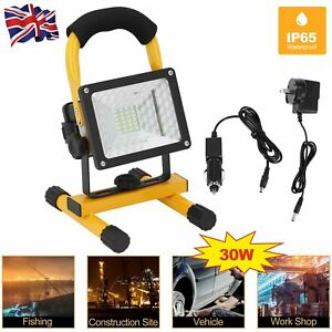 30W LED Flood Light Rechargeable Cordless Work SiteMobile Portable Camping Lamp